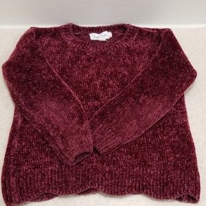 Cloud chaser burgundy and silver girls sweater